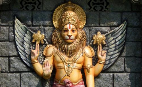 Hyderabad,india November,5:statue,Of,Hindu,God,Narasimha,,Avatar,Of,Vishnu,As